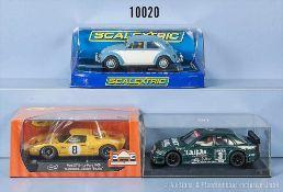 Konv. 3 Slot-Cars, dabei Scalextic VW Beetle (Kleinteile fehlen), Ninco Mercedes Rallye und Slot.