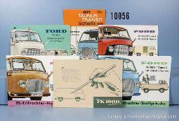 Konv. 7 alte original Ford Autoprospekte, Falt- und Werbeblätter, dabei für Ford FK 1000/1250
