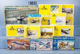 Konv. 14 Modellbausätze für Flugzeuge und Helikopter, Kunststoffausf., M 1:100, versch.