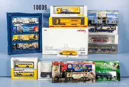 Konv. 26 H0 Modellfahrzeuge, dabei Lkw, Omnibusse usw. sowie Märklin 1891 und 2 x Märklin 46823, 1 x