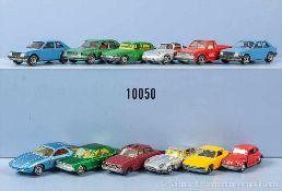 Konv. 12 Modellfahrzeuge dabei Pkw und Sportwagen, Metallgußausf., versch. Hersteller, überwiegend