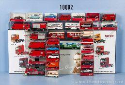 Konv. 38 H0 Herpa H0 Modellfahrzeuge, dabei Pkw, Einsatzfahrzeuge, Lkw mit Anhänger, Zugmaschinen