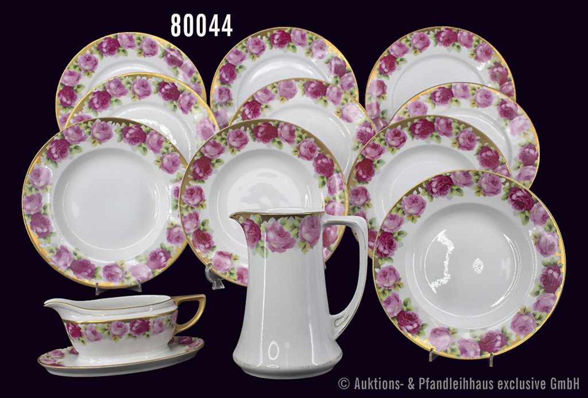 Konv. Rosenthal Porzellan, 12 Teile, Rosenthal 1 Krug Serie Chrysantheme, Dekor Cäcilie, Goldrand