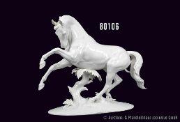Rosenthal Porzellan, Kunstabteilung, Serie Übermut, Motiv aufbäumendes Pferd, weiß, Künstler Th.
