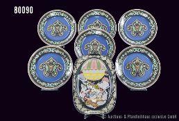 Konv. Rosenthal, dabei 6 Rosenthal Porzellan Wandteller, classic Pearl China, Mayfair, Künstler Nina