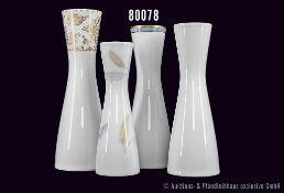 Konv. Rosenthal Porzellan, 4 Vasen, Serie Form 2000, weiß, teilw. mit buntem Rand, H bis 27,5 cm,
