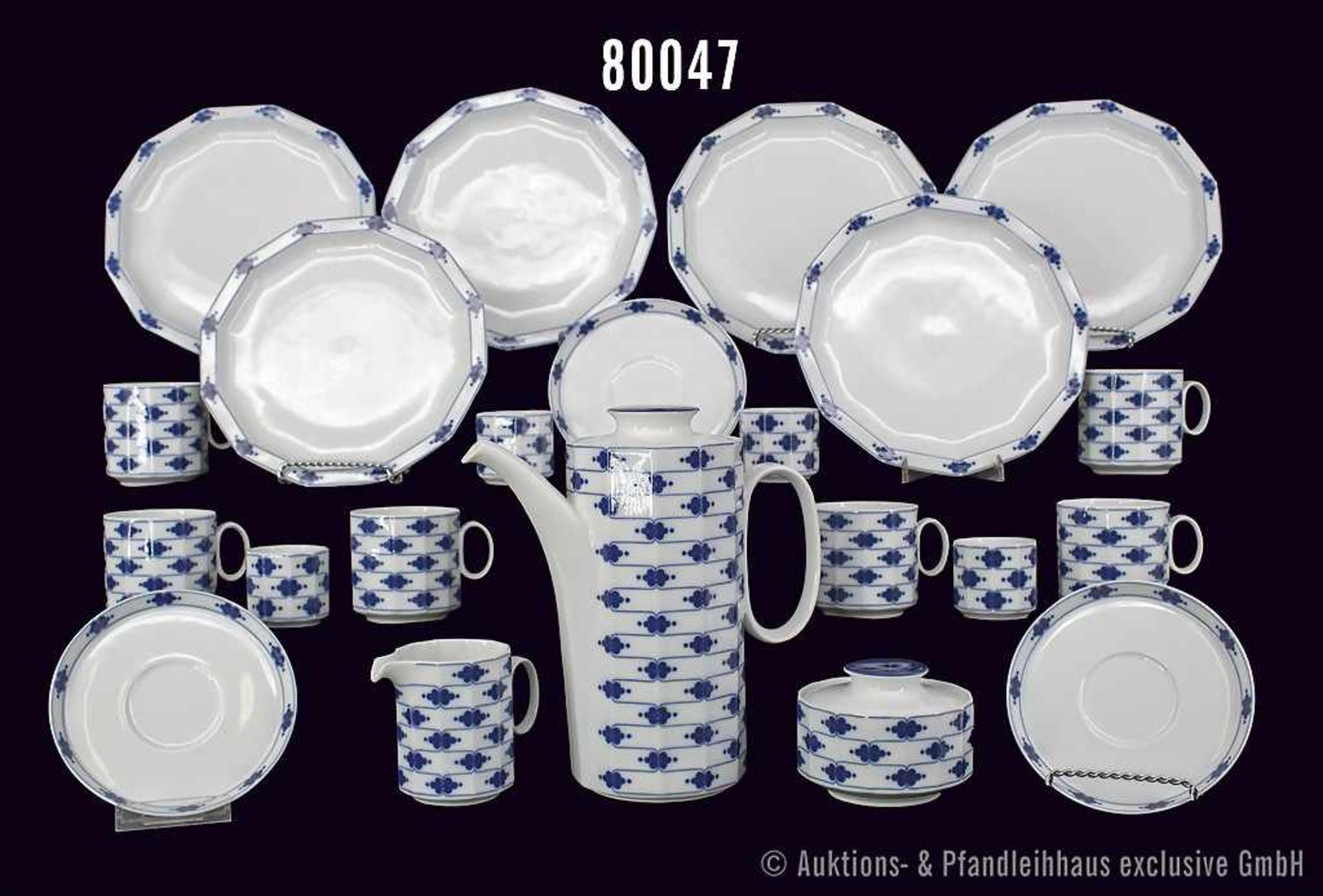 Konv. Rosenthal Porzellan, 27 Teile, Rosenthal studio-linie, Serie Polygon, Dekor Korinth, blaue