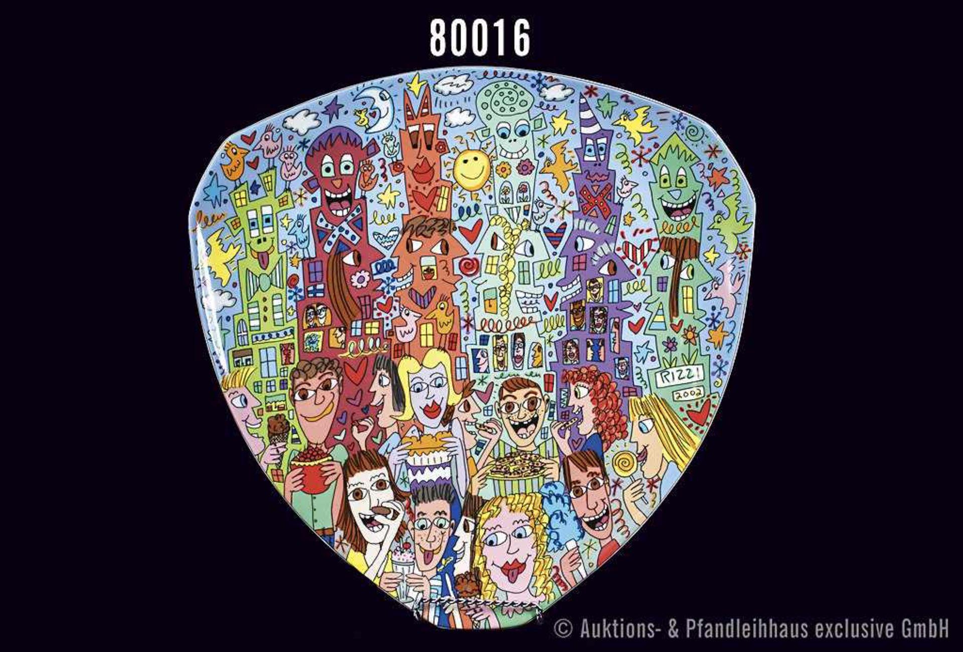 Rosenthal Porzellan, Künstlerteller von James Rizzi, aus dem Jahr 2003, Design Dorothy Hafner,
