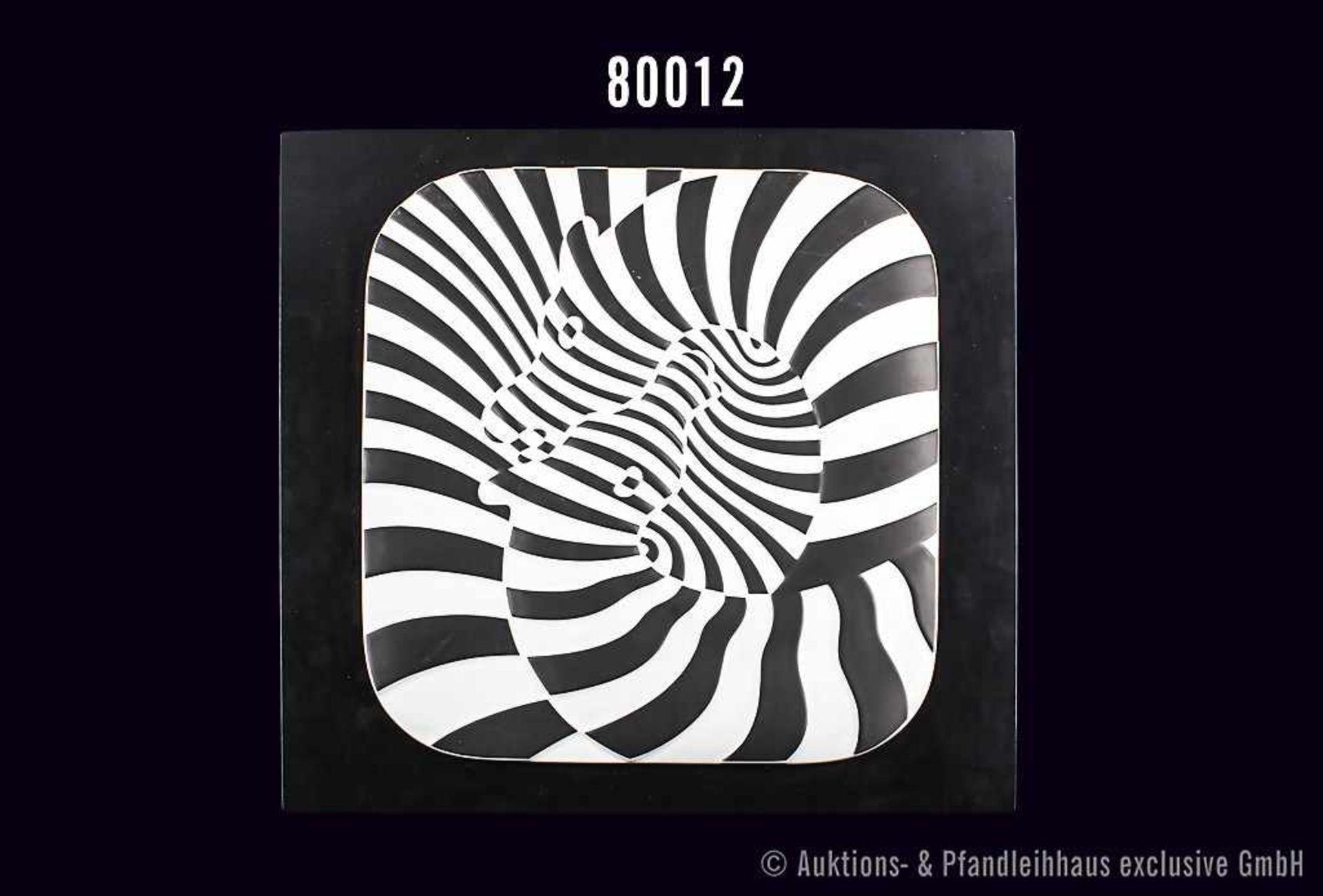 Rosenthal Porzellan, Wandrelief Jahresteller 1977, Dekor Zebra, Motiv von Victor Vasarely,