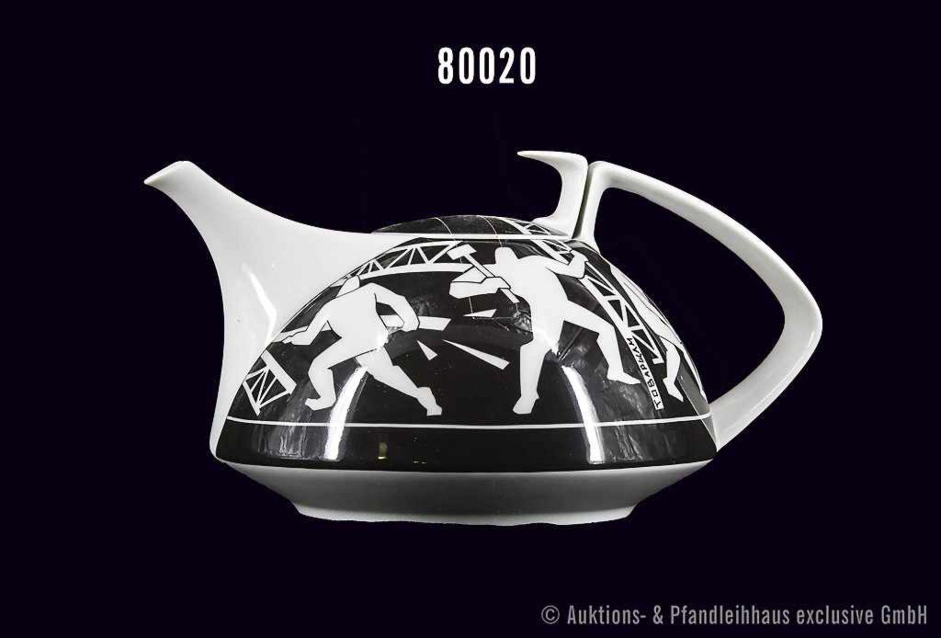Rosenthal Porzellan, Teekanne Form Gropius Künstler Kanne, Dekor Derevolution, von Sergei Bugaev,