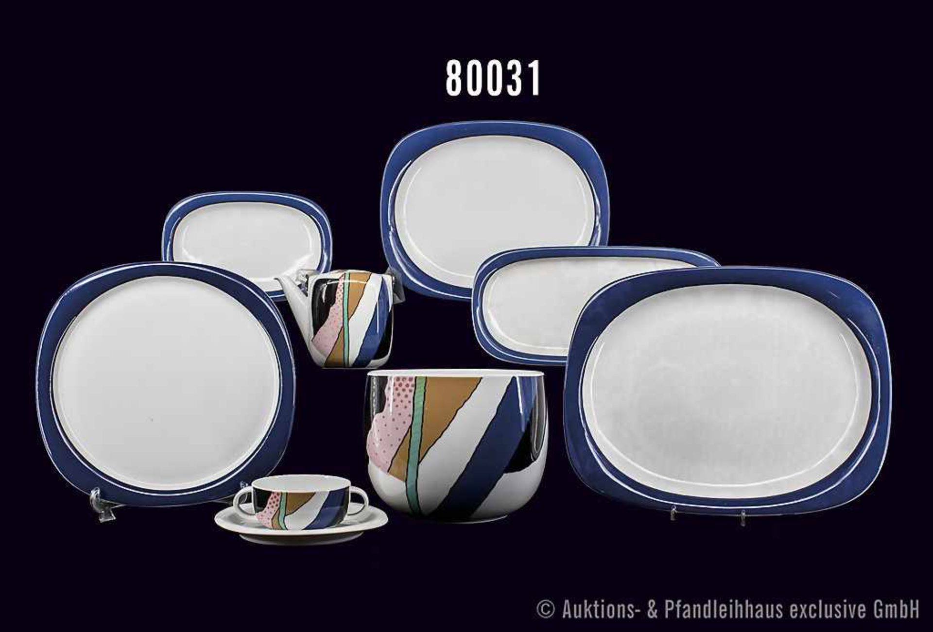 Konv. Rosenthal Porzellan, 23 Teile, Serie Suomi weiß, Dekor Collage bunt mit blauem Rand, Motiv