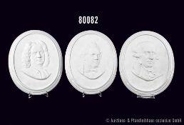 Konv. Rosenthal Porzellan, 3 Wandreliefs, Classic Rose, dabei Johann Sebastin Bach, Franz Schubert