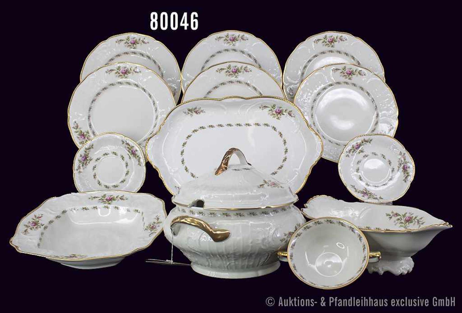 Konv. Rosenthal Porzellan, 22 Teile, Rosenthal Classic, Serie Sanssouci elfenbein, Dekor Moosrose,