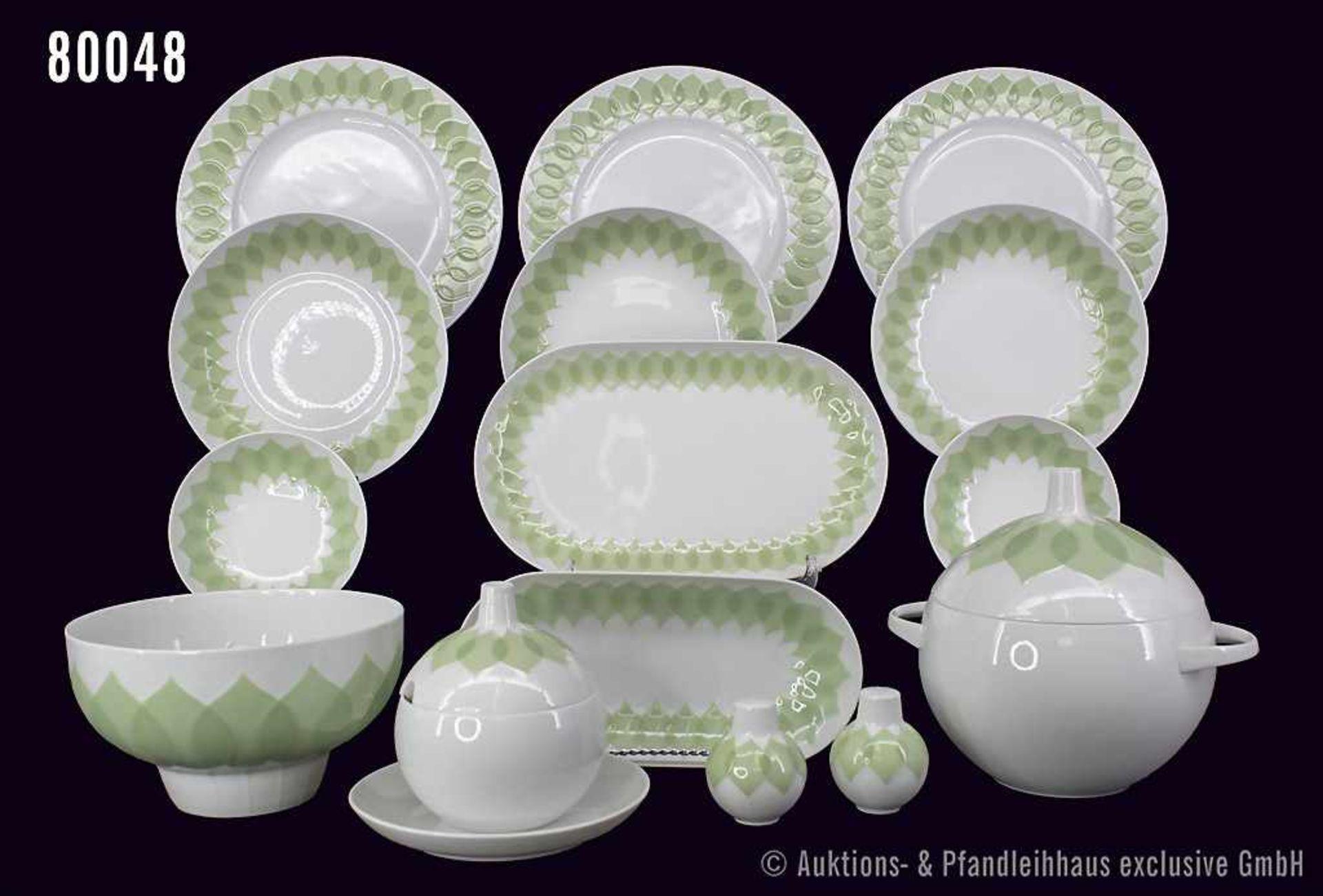 Konv. Rosenthal Porzellan, 32 Teile, Rosenthal studio-linie, Serie Lotus, Dekor Secunda grün,