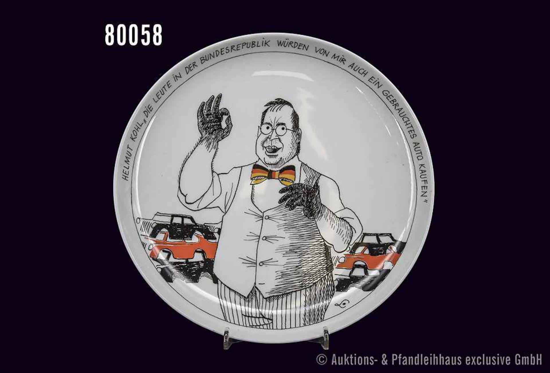 """Rosenthal Porzellan, Satireteller Nr. 7, Persönlichkeit Helmut Kohl """"Die Leute in der Bundesrepublik"""