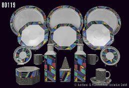 Konv. Rosenthal Porzellan, Keramik 28 Teile, Serie Scenario, Dekor Metropol, grafisch bunt, Deckel