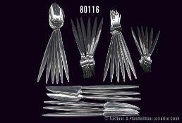 Konv. Rosenthal, 30 Teile, Serie Cambio, Stahl/Chromargan, spitz auslaufend, dabei 6 Dessertgabel, 6