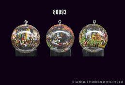 Konv. 6 Rosenthal Glas-Weihnachtskugeln von James Rizzi, Christmas Edition, versch. Motive, u. a.