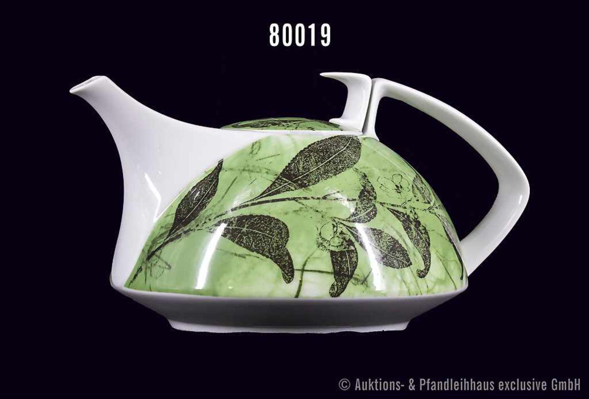 Rosenthal Porzellan, Teekanne Form Gropius Künstler Kanne, Dekor Green Tea, von Arnulf Rainer,