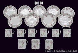 Konv. Rosenthal Porzellan, 18 Teile, Serie Monbijou alt, 1896, Motiv rosa Rosen, grüne Zweige und