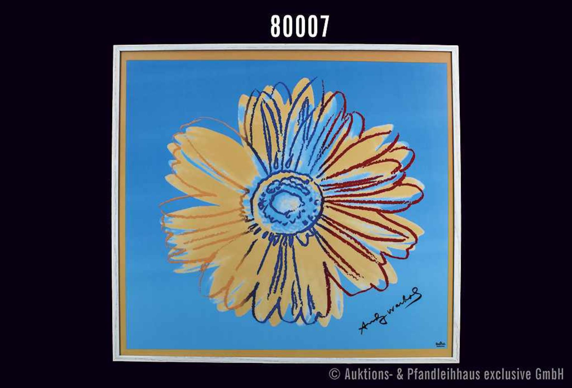 Rosenthal Porzellan, Wandbild Andy Warhol-Collection, Dekor Daisies orange-türkis, große bunte