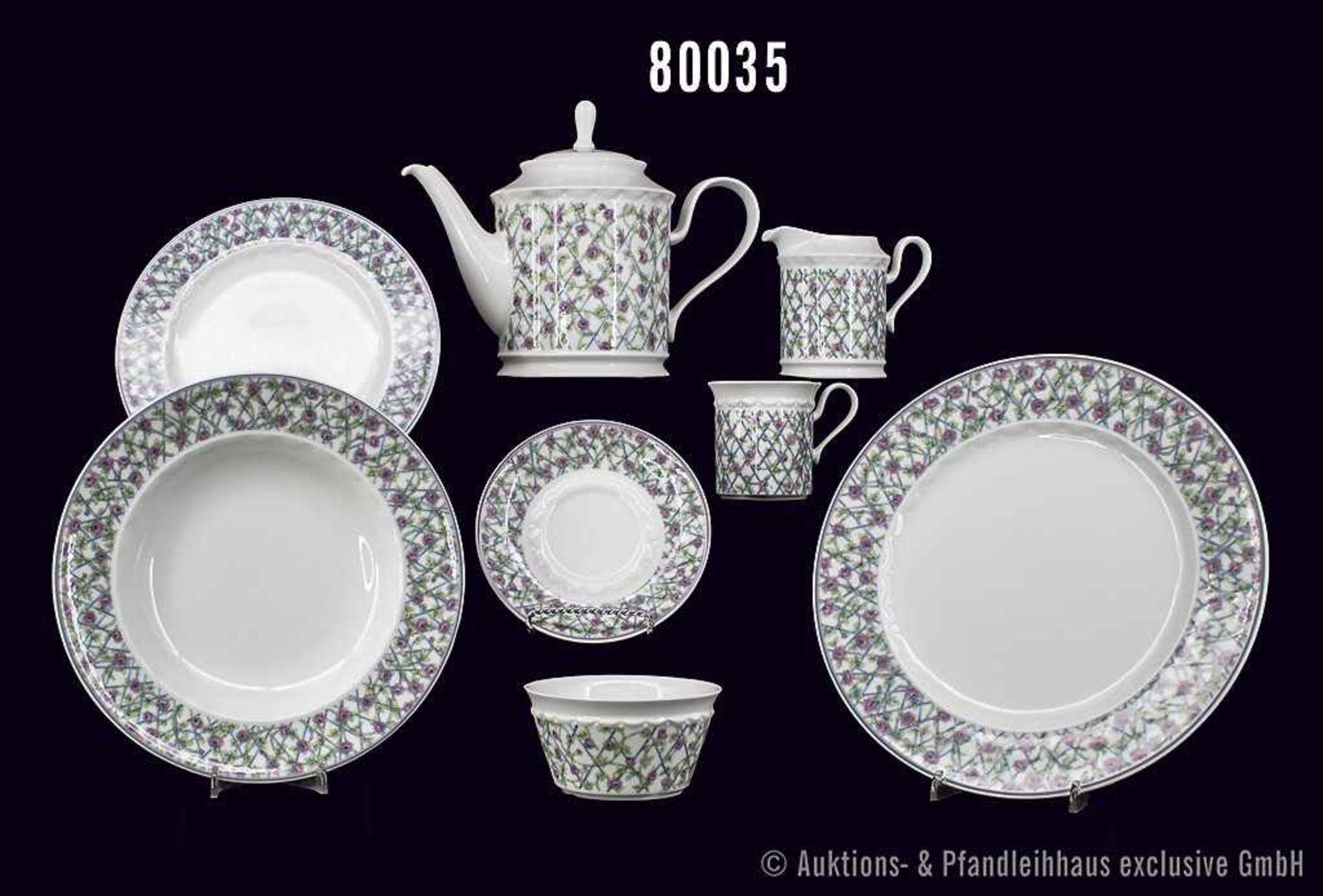 Konv. Rosenthal Porzellan, 27 Teile, Rosenthal classic, Serie Pearl China, Dekor Rosaromantika,