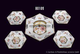 Konv. Rosenthal Porzellan 5 Teile, Konfektschale mit 4 Tellerchen, Serie Marlene, Dekor Goldrand mit