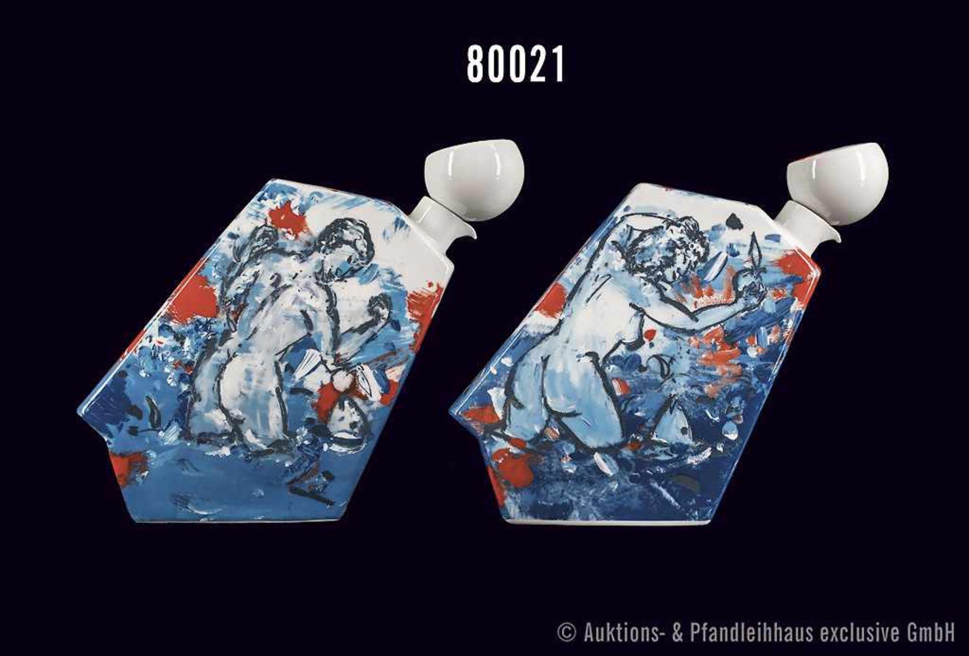 Rosenthal Porzellan, Objekt Tischflaschen Adam und Eva, Künstler Christian L. Attersee, limitierte