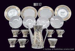 Konv. Rosenthal Porzellan, 20 Teile, Serie Form 2000, Dekor Rhapsodie in Gold, Le Foll, Design
