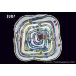 Rosenthal Porzellan, Wandrelief, Spiralenteller von Friedensreich Hundertwasser, limitierte