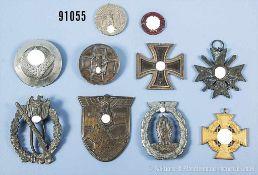 Konv. 10 beschädigte Auszeichnungen 3. Reich, u.a. Infanterie-Sturmabzeichen, Krimschild, EK 2,