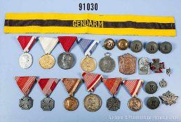 Konv. Österreich, u.a. 2 bronzene und 1 silberne Tapferkeitsmedaille, 3 Kaiser-Karl-Truppenkreuze