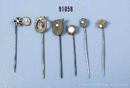 Konv. 6 Miniaturnadeln Krimschild, Polizei- und SS-Dienstauszeichnungen, VWA in Silber,