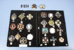 Konv. Lettland, 24 Regiments-/Bataillonsabzeichen von Militär und Heimwehr, überwiegend