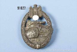 """Panzerkampfabzeichen in Bronze, Zinkausf., Hersteller """"HA"""", guter Zustand mit Altersspuren"""