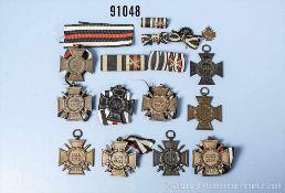 Konv. 6 EKF, 2 EKT, 2 EKW, 1 Miniatur zum EKF sowie 3 Feldspangen und 2 Knopflochschleifen,