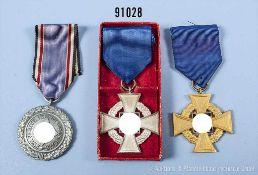 Konv. Treuedienst-Ehrenzeichen für 25 Jahre, in der Verleihungsschachtel und für 40 Jahre sowie