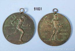 """Konv. 2 Sportmedaillen von 1920 """"Deutsche Sportbehörde für Athletik"""", jeweils 1. Preis, rückseitig"""