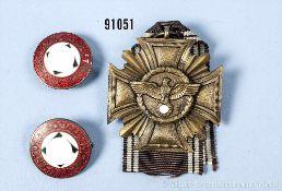 Konv. NSDAP-Dienstauszeichnung in Bronze sowie 2 Parteiabzeichen, guter Zustand, teilweise mit