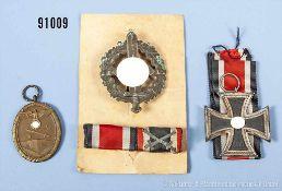 Konv. EK 2 1939, SA-Sportabzeichen in Bronze, Deutsches Schutzwall-Ehrenzeichen sowie Frontfertigung