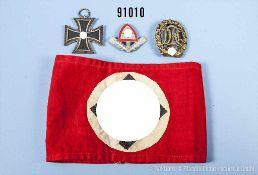 Konv. EK 2 1939, Sportabzeichen in Bronze, HK-Armbinde sowie RAD-Mützenabzeichen, guter Zustand,