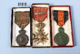 Konv. Frankreich St.-Helena-Medaille, Belgien Croix de Guerre und Belgien Yser-Medaille 17.