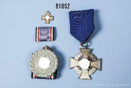 Konv. Treuedienst-Ehrenzeichen für 25 Jahre, Miniatur für 50 Jahre sowie Luftschutz-Ehrenzeichen