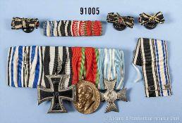 Konv. 4er Ordenspange, Bayern Ordensband vom MVO, EK 2 1914, Jubiläumsmedaille für die Bayerische