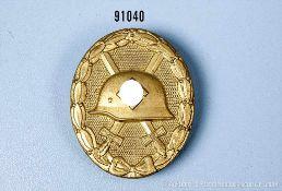 """VWA in Gold, Buntmetallausf., Hersteller """"L/14"""", guter Zustand mit Tragespuren"""