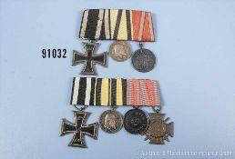 Konv. 3er Ordenspange EK 2 1914, Württemberg Tapferkeitsmedaille und Württemberg