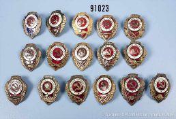Konv. 16 Orden UdSSR, Besten-Abzeichen, versch. Waffengattungen, alle rückseitig mit Schraubscheibe,