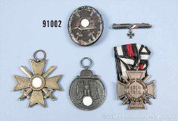 Konv. KVK 2. Klasse mit Schwertern, Ostmedaille, VWA in Schwarz, EKF und patriotischer Anhänger 1.