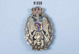 Königreich Rumänien, Abzeichen der Militär-Akademie, teilemailliert, rückseitig Silberpunze auf