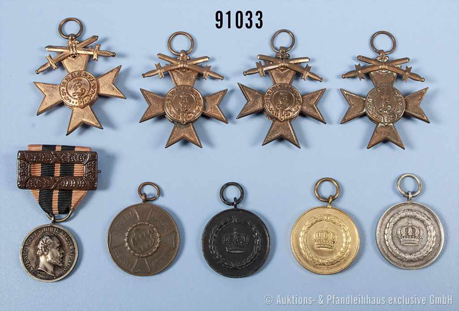 Konv. Bayern, 4 MVK 3. Klasse mit Schwertern und Landwehr-Dienstauszeichnung 2. Klasse sowie